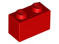LEGO Brick 1 x 2, red